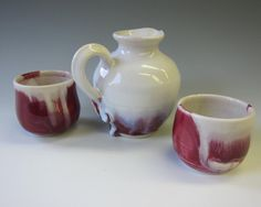 Sake or Whiskey  Red and White Handmade Pottery Set by madmud