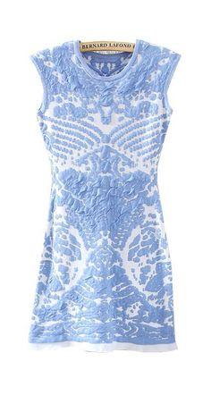 Blue Sleeveless Porcelain Pattern Knit Dress
