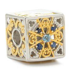 "153-766 - Gems en Vogue Swiss Blue Topaz & Sapphire ""Rome"" Cube Slide-on Charm"