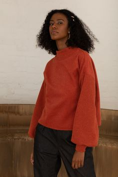 The Kona jumper is your must have statement piece; uniquely made from soft Japanese wool and ribbing. A piece you can wear for many winters to come. Red Jumper, Knitwear Fashion, European Fashion, Sustainable Fashion, Wool Blend, Burns, Bell Sleeve Top, Women Wear, Victoria