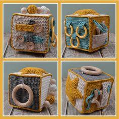 Crochet Baby Toys, Crochet For Kids, Diy Crochet, Baby Sewing Projects, Crochet Projects, Baby Knitting Patterns, Amigurumi Patterns, Activity Cube, Diy Bebe