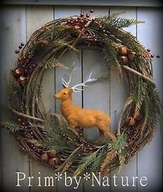 Primitive Christmas Wreath Vintage Flocked Reindeer Stag Holiday Door Wreath. Please visit me @ primbynature.com