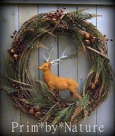 Primitive Christmas Wreath Vintage Flocked Reindeer Stag Holiday Door Wreath. Please visit me @ primbynature.com
