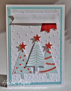 The Dining Room Drawers: A couple of Stampin' Up and Sizzix Christmas Cards - Festival of Trees card