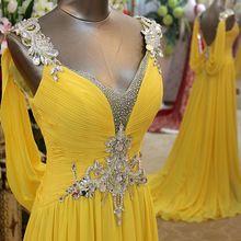 Elegante amarillo vestidos de noche 2017 v cuello backless largo cristalino de la gasa de las mujeres vestido de cena formal del partido de baile vestido de festa(China (Mainland))