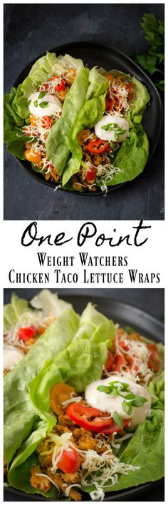 Amazing Chicken Taco Lettuce wraps! Perfect for having an amazing Weight Watchers dinner with out a ton of points. If you are looking for an amazing meal even with out being on Weight Watchers these chicken tacos are amazing! #chicken #tacos #Dinner