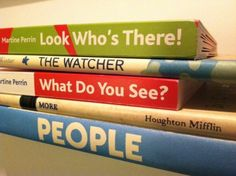 """More Book Spine Poetry! """"Look Who's There / The Watcher / What Do You See / More / People"""" Book Spine Poetry Teaching Poetry, Writing Poetry, Poetry Unit, Found Poetry, Forms Of Poetry, Poetry Lessons, National Poetry Month, Book Spine, Library Activities"""