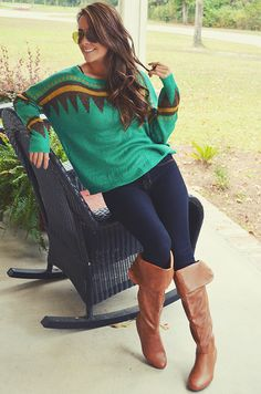 Love this sweater and the boots!