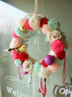 Pom pom winter wreath
