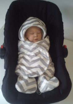 Car seat cosy wrap  Silver Grey and Off White  Minky by SiennaChic