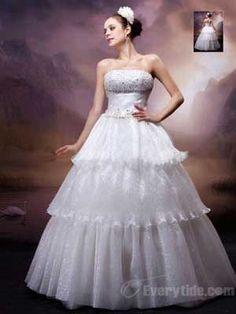 Wholesale 2013 Wonderful Ball Gown Strapless Floor-length Organza White Wedding Dresses$237.99