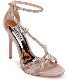 hodge strappy sandal by Badgley Mischka. Shimmering crystals amp up the glamour of a leg-lengthening evening sandal secured by an adjustable strap at the ankle. Style Name: Badgley Mischka Hodge Strappy Sandal (Women). Style Number: Available in stores. Stilettos, Strappy High Heels, Strappy Sandals, Stiletto Heels, Women's Shoes, Zapatos Shoes, Ankle Shoes, Prom Shoes, Golf Shoes