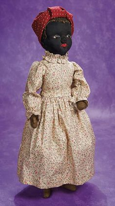 Rare American Black Stockinette Cloth Doll Attributed to Julia Beecher. Circa 1890. http://Theriaults.com