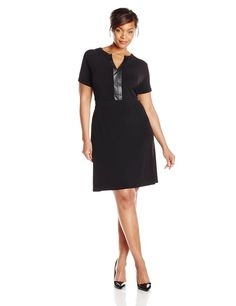 @calvinklein Plus-Size V Neck Chain Dress www.outlet77.com