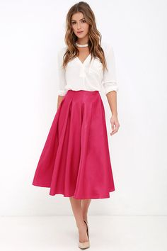 Without Question Berry Pink Midi Skirt at Lulus.com!