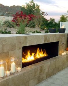 Contemporary outdoor patio fireplace