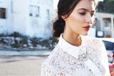 Lace shirt white by Georgie. Ready To Wear, Ruffle Blouse, Unique, Autumn, Facebook, How To Wear, Shirts, Winter, Inspiration