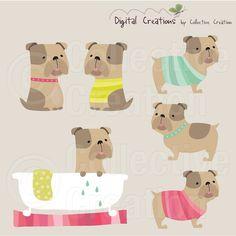 Bulldog Digital Clip Art Set uso Personal y por CollectiveCreation