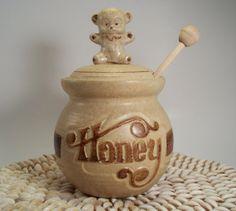 Pottery Craft USA Honey Pot Jar w/ Teddy Bear Lid by 2sisterspicks, $15.00
