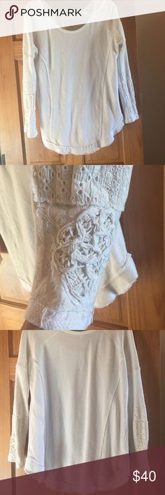 Free people thermal like new Cream thermal with awesome details on sleeves! A little over sized, so cute with leggings awesome condition Free People Tops Tunics