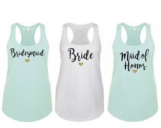 A Bright and fun way to celebrate your Bachelorette party or bridal shower, our personalized Bride and Bridal Party tanks will be sure to let everyone know whos going to get married and whos her support team whenever they go out together. Our Bachelorette tank top designs come in a
