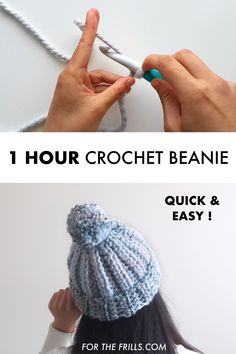 Looking for a beginner crochet project? This chunky crochet beanie is super easy to make in one hour and only uses half double crochets! This pom pom beanie has child and adult sizes, free crochet pattern and video tutorial. Basic Crochet Stitches, Crochet Basics, How To Crochet A Scarf, Easy Things To Crochet, How To Make A Beanie, Easy Crochet Socks, Crochet Toddler Hat, Chunky Crochet Hat, Knitted Hats