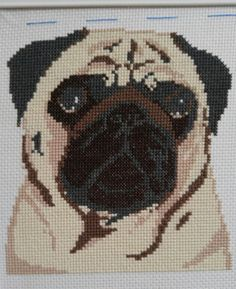 I'm an eternal flame, baby — Second pug down, two to go Cross Stitching, Cross Stitch Embroidery, Embroidery Patterns, Cross Stitch Charts, Cross Stitch Patterns, Pugs, Pug Cross, Everything Cross Stitch, Carlin