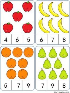 Fruit Count and Clip Cards: Numbers - Love You Pintereset Counting Activities, Preschool Learning Activities, Preschool Activities, Kids Learning, Montessori Math, Numbers Preschool, Kindergarten Math Worksheets, Math For Kids, Math Centers