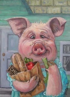 Pig on a diet ACEO print from original oil by Joy Campbell #Realism