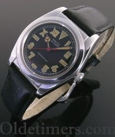 steel vintage Rolex Oyster 'Bubbleback' watch, signed Rolex Auto Rotor Chronometer, Swiss Made, with 17 jewels, with rare black 'California' dial Army Watches, Old Watches, Fine Watches, Watches For Men, Wrist Watches, Vintage Rolex, Vintage Watches, Skeleton Watches, Watch Companies