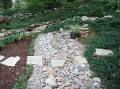 dry creek bed, berm, and flagstone walk Backyard Landscaping, Landscaping Ideas, Path Edging, Dry Creek Bed, Corner Garden, Flagstone, Photo Library, Landscape Design, Stepping Stones