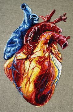 New Embroidery Heart Anatomical Anatomy 58 Ideas Embroidery Hearts, Hand Embroidery Patterns, Diy Embroidery, Embroidery Stitches, Embroidery Designs, Art Du Fil, Tumblr Art, A Level Art, Anatomy Art