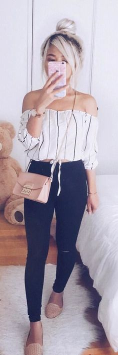 #spring #outfits woman wearing white off-shoulder shirt and black pants outfit. Pic by @underthecafelights