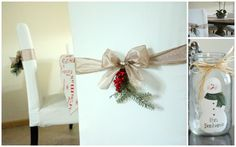 Christmas DIY Decorations -- so simple - pretty ribbon, berries, pine bough