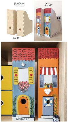Paint the front of the boxes as tall coastal houses and put them in a row, like terraced houses at the seaside. Simple Diy, Easy Diy, Magazine Files, Small Home Offices, Small Space Storage, Arts And Crafts, Diy Crafts, Seaside, Small Spaces