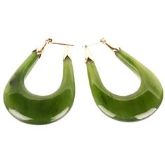 14K Yellow Gold Spinach Jade Hoop Earrings