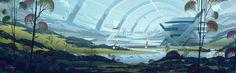 Resort Station by Davison Carvalho Hard Science Fiction, Art Rules, Fantasy Paintings, Animation Background, Matte Painting, Environment Design, Environmental Art, Sci Fi Art, Traditional Art