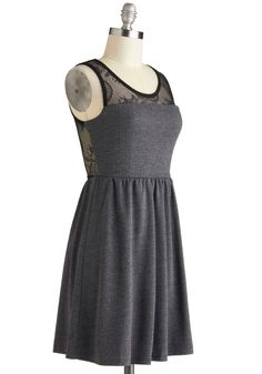 Film Law Intern Dress - Grey, Black, A-line, Tank top (2 thick straps), Sheer, Mid-length, Lace, Party