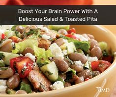 Just in time for summer! Prepare this delicious toasted pita and bean salad and savor every bite of health, not just for your body (as this recipe is vegan unless you use the feta, which still makes it vegetarian,) but for your cognitive health, as well.
