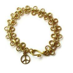 Chain Bracelet Yellow Gold Jewelry Statement by jewelrybycarmal, $55.00