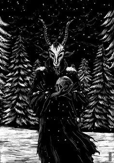 Have a Krampus Christmas! Dark Gothic Art, Dark Art, Heavy Metal Art, Black Metal, Baphomet, Dark Spirit, Dark Images, Occult Art, Desenho Tattoo