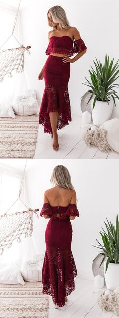 modest burgundy off the shoulder prom dresses, unique two piece high low lace party dresses, simple high low beach formal dresses #lacedress #promdress #partydress