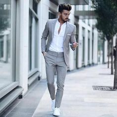 Suit fashion - Men's Classic Solid Color Slim Suit Set Fashion Night, Winter Fashion, Mode Man, Mode Costume, Slim Suit, Herren Outfit, Mens Fashion Suits, Mens Casual Suits, Grey Suit Men