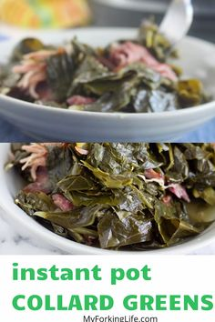These Southern Style Pressure Cooker Collard Greens are flavorful, tender, and cooked in half the time than the stove top method. Instant Pot Collard Greens Recipe, Crockpot Collard Greens, Southern Collard Greens, Instant Pot Pressure Cooker, Pressure Cooker Recipes, Pressure Cooking, Crockpot Recipes, Cooking Recipes, Turkey Crockpot