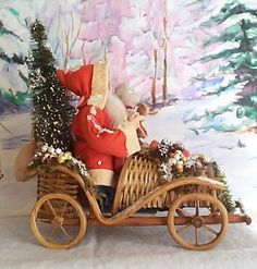Santa in wicker car....