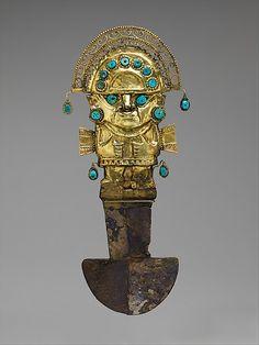 Perú- Lambayeque; Objeto ceremonial de oro, plata, turquesa, posiblemente para uso de sacrificios, llamado 'Tumi de Oro', siglo 9 a 11 de la Cultura Sican - Jhabich