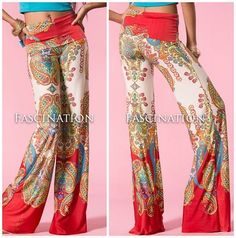 QUEEN OF SHEBA Paisley Print 70's HIPPIE CHIC PALAZZO YOGA/HIGH WAIST FLARE PANT