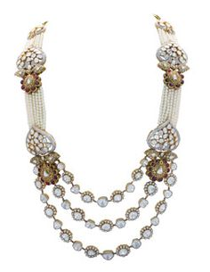 Anmol necklace- 18ct gold w/south sea pearls and uncut diamonds