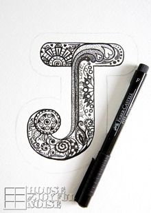 Drawing Doodles Ideas Not necessarily going to make a letter cutout, but I may doodle the letters of my own name like this in my sketchbook if I get bored. Tangle Doodle, Tangle Art, Doodles Zentangles, Zen Doodle, Zentangle Patterns, Doodling Art, Mandala Doodle, Cute Doodle Art, Doodle Patterns