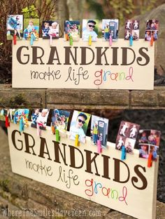 Colorful Grandkids Make Life Grand Wood Sign Photo Display - 19 Super Fun DIY Christmas Gifts to Surprise Your Loved Ones on A Budget